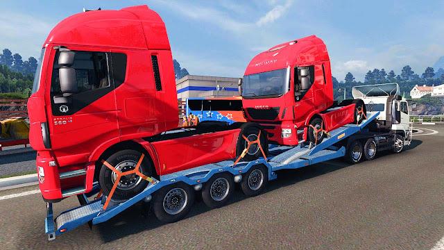 Mod Trailer Angkut Truk - Euro Truck Simulator 2 More Truck Transporter v 3.0