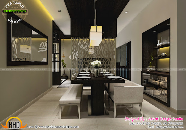 Dining Kitchen Wash Area Interior - Kerala Home Design