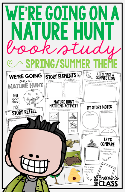 We're Going on a Nature Hunt book study companion activities. Includes story sequencing manipulative anchor chart! Perfect for a spring and summer theme in the classroom. Use for whole class guided reading, small groups, or individual study packs. Packed with lots of fun literacy ideas and guided reading activities. Common Core aligned. K-2 #bookstudies #bookstudy #picturebookactivities #literacy #guidedreading #bookcompanion #bookcompanions #1stgradereading #kindergartenreading #springbooks