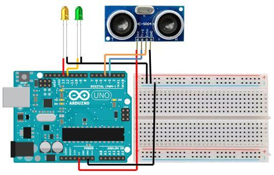 Rangkaian Menggunakan Sensor Ultrasonik Arduino