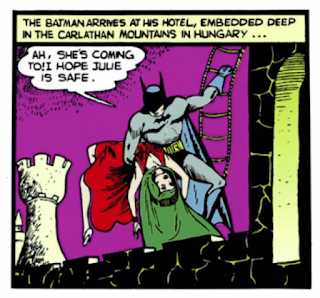 Detective Comics (1937) #32 Page 2 Panel 8: Batman lugs Dala, The Master Monk's hench-person, around like a sack of potatoes.