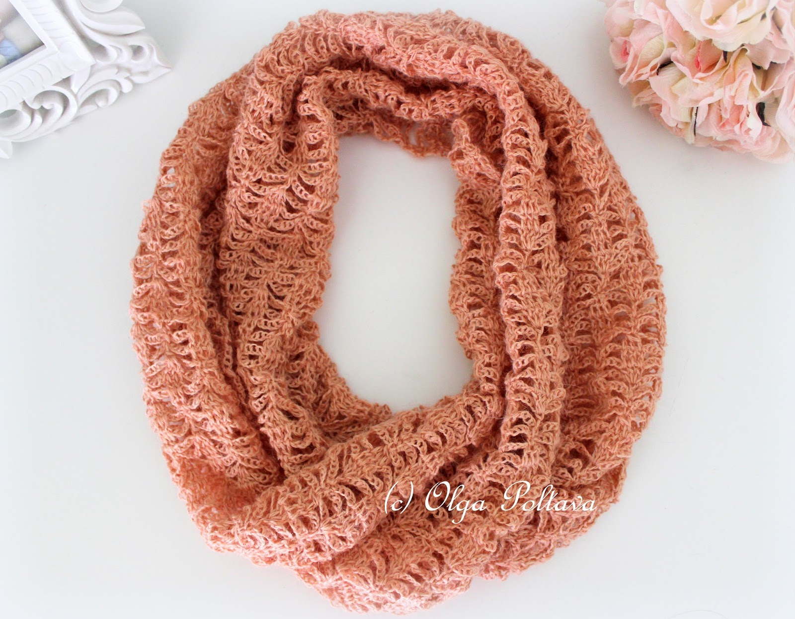 lacy crochet lace infinity crochet scarf