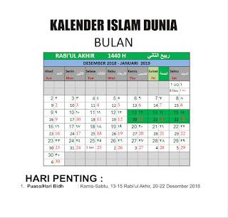 Kalender Islam Bersatu Bulan Rabi'ul Akhir 1440 H