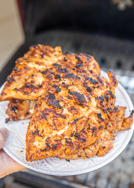 Sweet and Smoky Grilled Taco Chicken - only 3 ingredients including the chicken. Ready to throw on the grill in minutes. Can marinate chicken in seasoning overnight for maximum flavor. Try the leftovers in a wrap or on top of a salad. Chicken, brown sugar, taco seasoning. We made this TWICE in one week - SO delicious! #grilling #chicken #grilledchicken #mexicanrecipe #easygrilledchicken