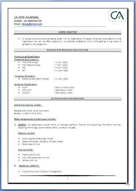 Resume Sample For Fresher Chartered Accountant Resume Ixiplay Free - chartered accountant sample resume