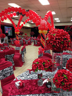 Red black balloon canopy