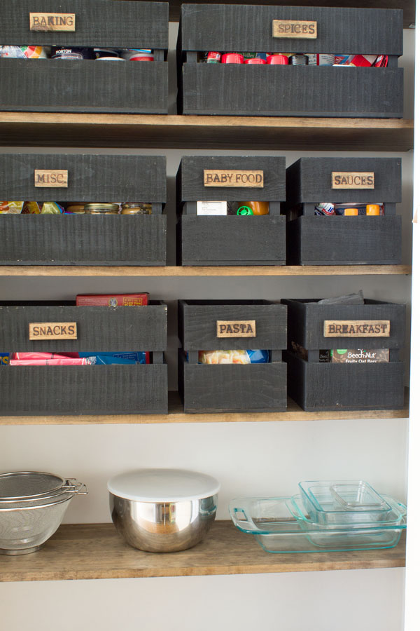 How to organize a small pantry. Get modern farmhouse style with DIY wood burned food storage crates.