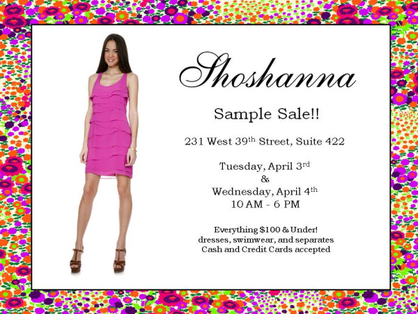 dc6105e4d2c8 Either way we are sure you are going to want to take advantage of the  Shoshanna sample sale. Flirty dresses and well-fitting bathing suits will  all be ...