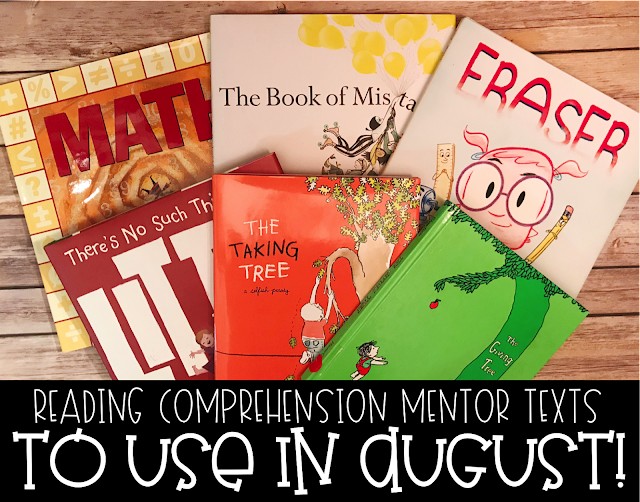 Using Mentor texts is fun way to teach or review reading comprehension to upper elementary students. These digital and printable graphic organizers are a fun way to engage , whether you utilize mentor texts in centers, small groups or the whole class. August is back to school month and these mentor texts are sure to start off your school year with some excitement. {3rd, 4th, 5th, reading comprehension}