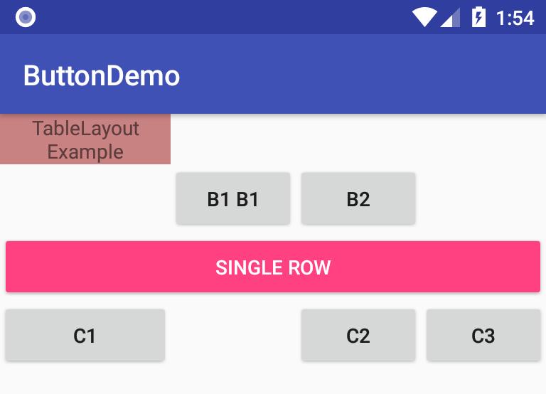 TableLayout và TableRow trong lập trình Android