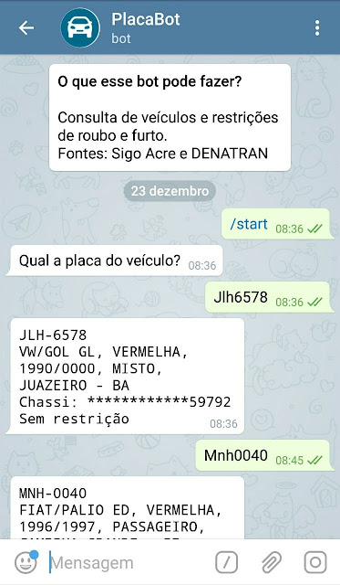 Consulta placa telegram