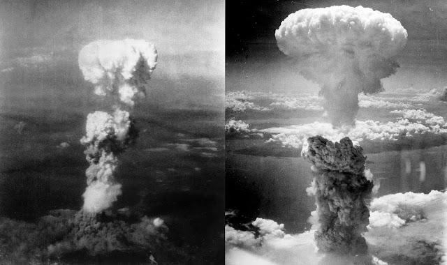 Vào thời điểm chụp bức hình này, khói bốc cao tới 20 ngàn feet (tức là khoảng 6 cây số) ở Hiroshima trong khi khói từ vụ nổ bom nguyên tử đầu tiên (cuộc thử nghiệm bom nguyên tử) chỉ cao có 10 ngàn feet. Trong sáu chiếc máy bay của Phi đoàn 509 tham gia nhiệm vụ này thì một chiếc có nhiệm vụ mang quả bom, một chiếc khác có nhiệm vụ đo đạc khoa học, còn một chiếc khác thì có nhiệm vụ chụp hình lại sự kiện và chiếc này đã bay vòng quanh tại nơi này một tiếng đồng hồ trước khi bắt đầu nhằm thăm dò tình hình thời tiết. Thời tiết xấu thì sẽ phải bỏ bớt vài mục tiêu đã định trước, mục tiêu đầu tiên của vụ thả bom là Hiroshima, thứ hai là Trung học Kokura và thứ ba là Đại học Nagasaki. Hình ảnh bên phải là vụ ném bom ở Nagasaki ngày 9/8/1945. Hình ảnh được chụp bởi Charles Levy.