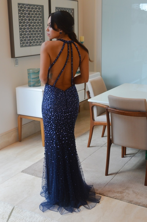 vestido de festa azul formatura