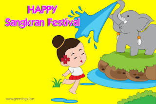 Happy Songkran  Festival Wishes Elephant sprinkling water