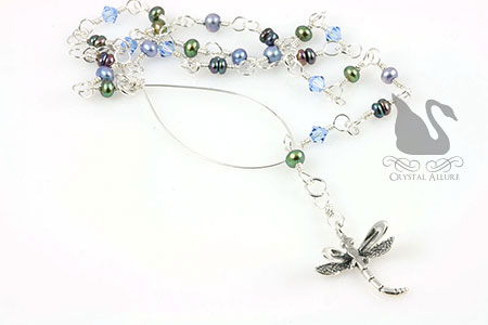Freshwater Pearl Dragonfly Charm Lariat Necklace (N099)