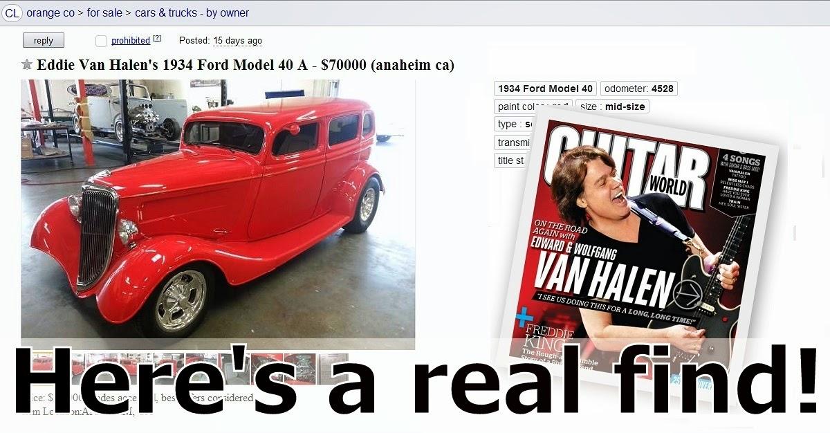 For Sale On Craigslist: Eddie Van Halen's 34 Ford ( Oklahoma City Craigslist Garage Sales )