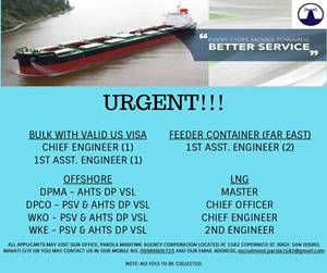 Urgent Crew For LNG, Bulk Carrier, Container, Offshore Vessel
