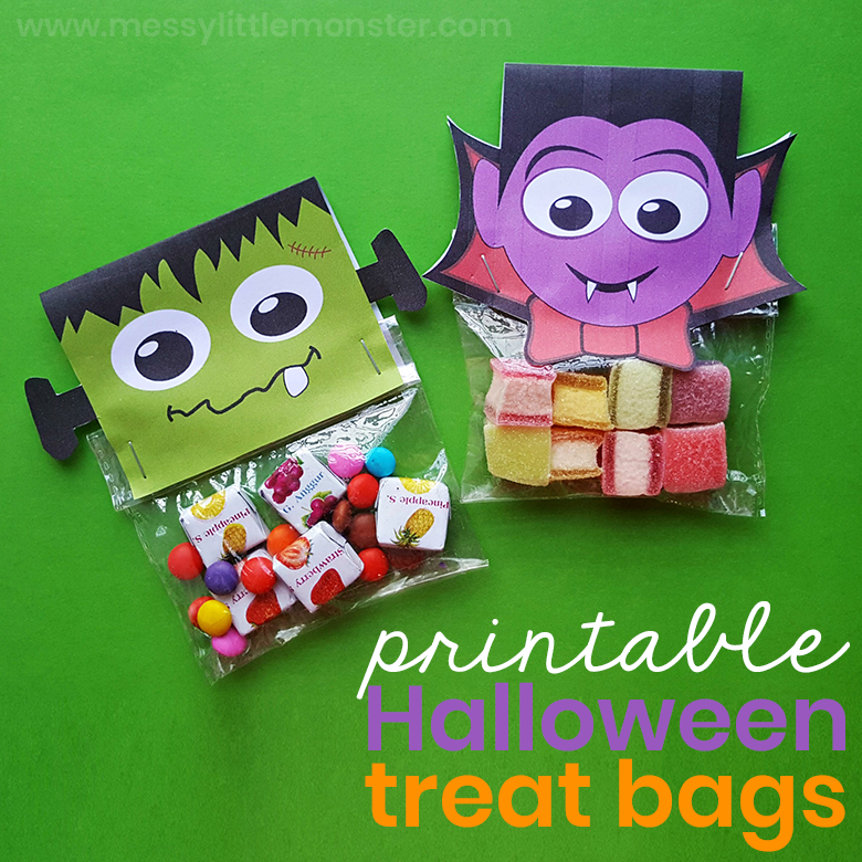 picture relating to Printable Holloween Crafts named Printable Halloween Handle Luggage - Halloween Crafts for Little ones