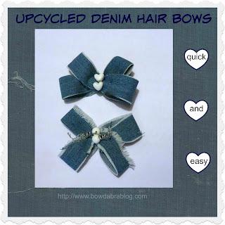 Upcycled denim hair bows
