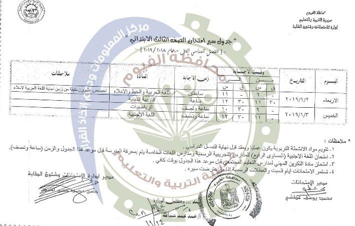 جدول امتحانات الصف الثالث الإبتدائي الترم الأول 2019 محافظة الفيوم
