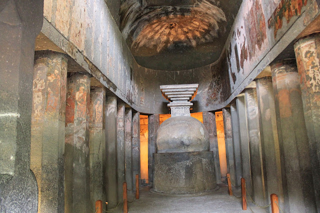 Ajanta cavePlain Chaitya Gruha  - Ancient Buddhist Monestry - Maharashtra India -  - Pick, Pack, Go
