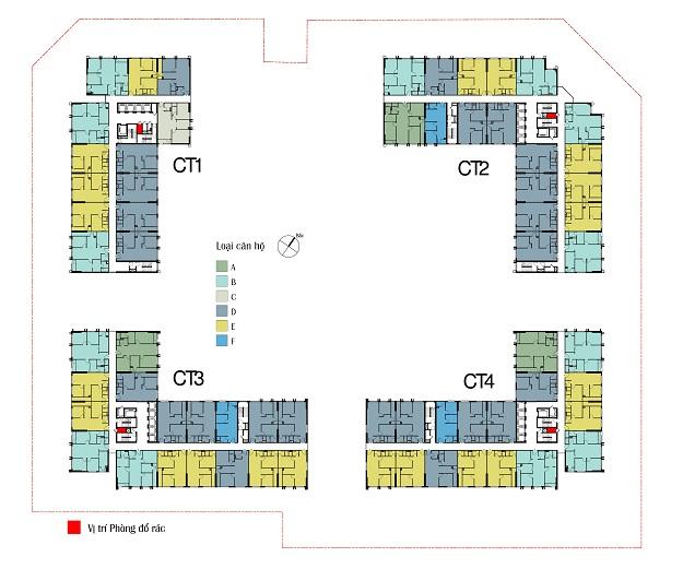 Mặt bằng tổng thể 4 tòa CT1, CT2, CT3, CT4
