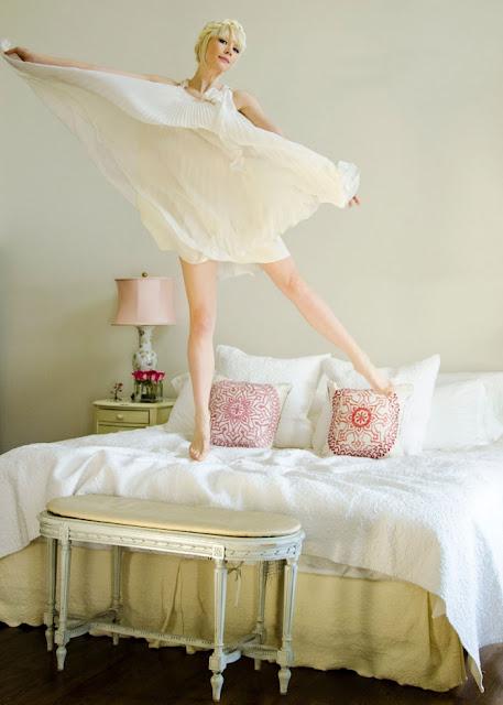 Erin Fetherston in her romantic New York apartment's bedroom on Hello Lovely Studio