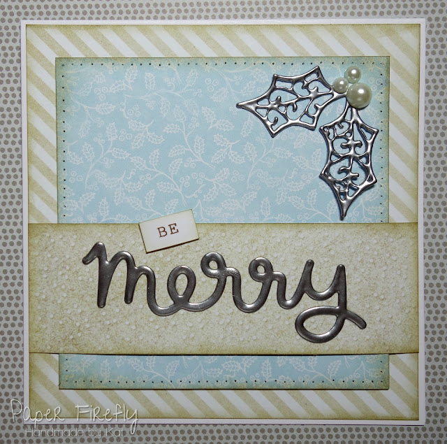CAS Christmas card with triple embossed sentiment and holly