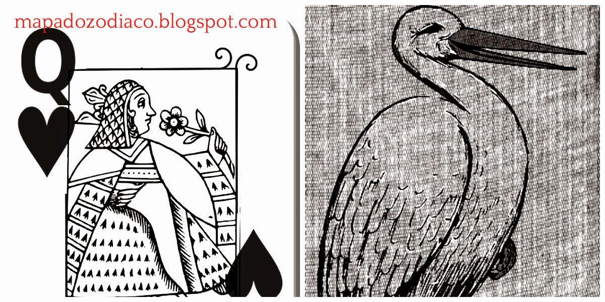 significado carta cigana lenormand cegonha rainha copas
