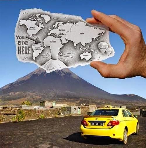 volcan  hecho realidad y dibujo
