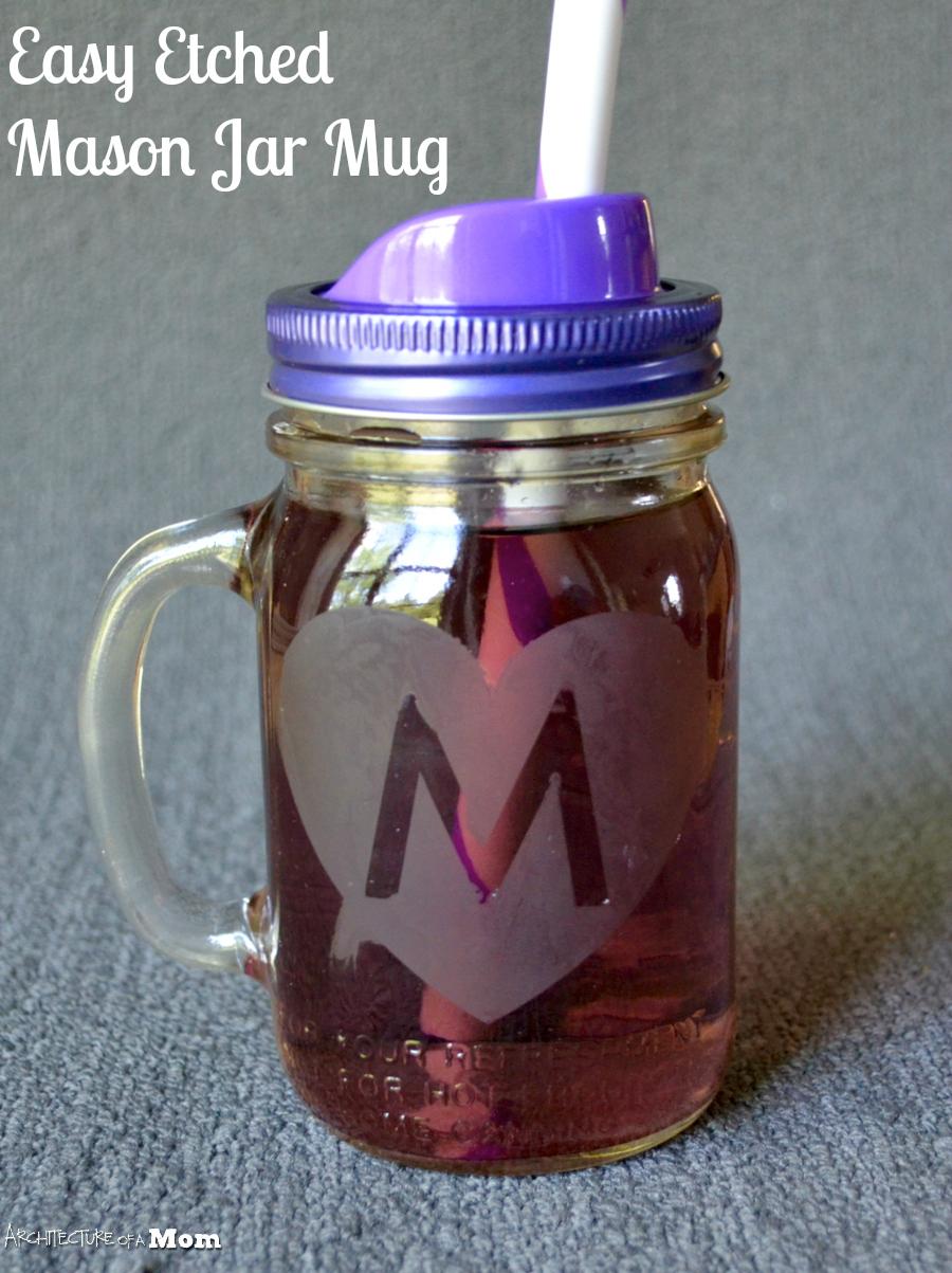 architecture of a mom etched monogrammed mason jar mug