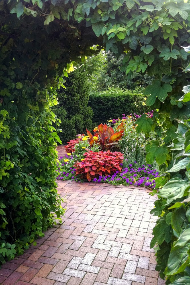 Chicago Botanic Garden, brick path, archway, Anne Butera, My Giant Strawberry