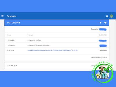 Pembayaran Google Adsense Bulan Juli 2014.