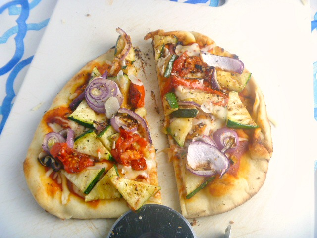 Grilled veggies, bursting with flavor, on a Naan flatbread, make for one heck of a Grilled Veggies Naan Pizza! - Slice of Southern