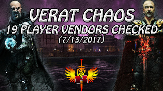 Verat Chaos, 19 Player Vendors Checked (7/13/2017)