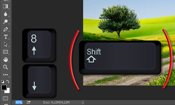 use arrow keys to change zoom level