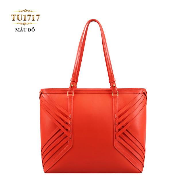 Chiếc Túi xách da đan móc màu đỏ nhập khẩu cao cấp TU1717(8,708,000 VND) thời trang, sành điệu và vô cùng sang trọng