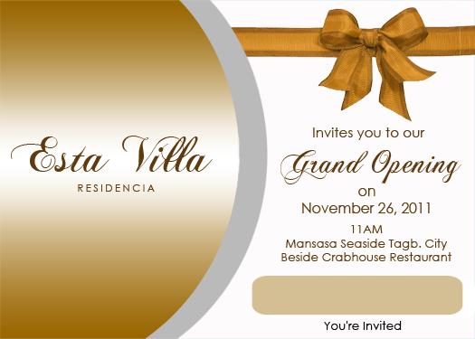 steven minds esta villa grand opening invitation card