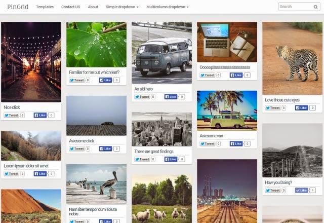 Grid Pin Responsive Masonry Photography Blogger Template