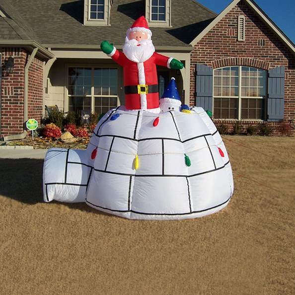 Santa & Snowman Igloo Christmas Inflatable