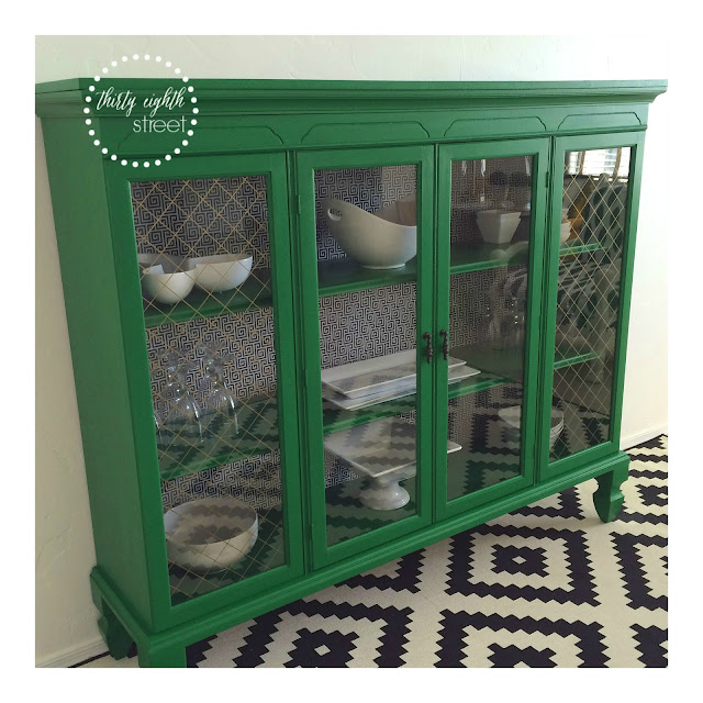 how to create two pieces of furniture from one hutch, green hutch, green cabinet, inspiration furniture painted green, chalk paint, milk paint, how to paint furniture with milk paint, general finishes