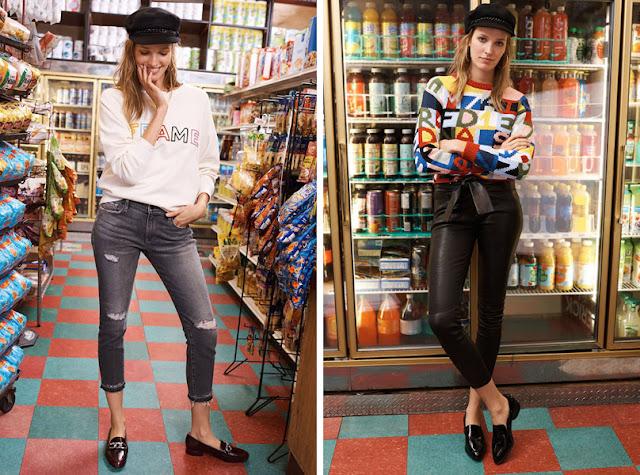 Девушка в черной фуражке в джинсах
