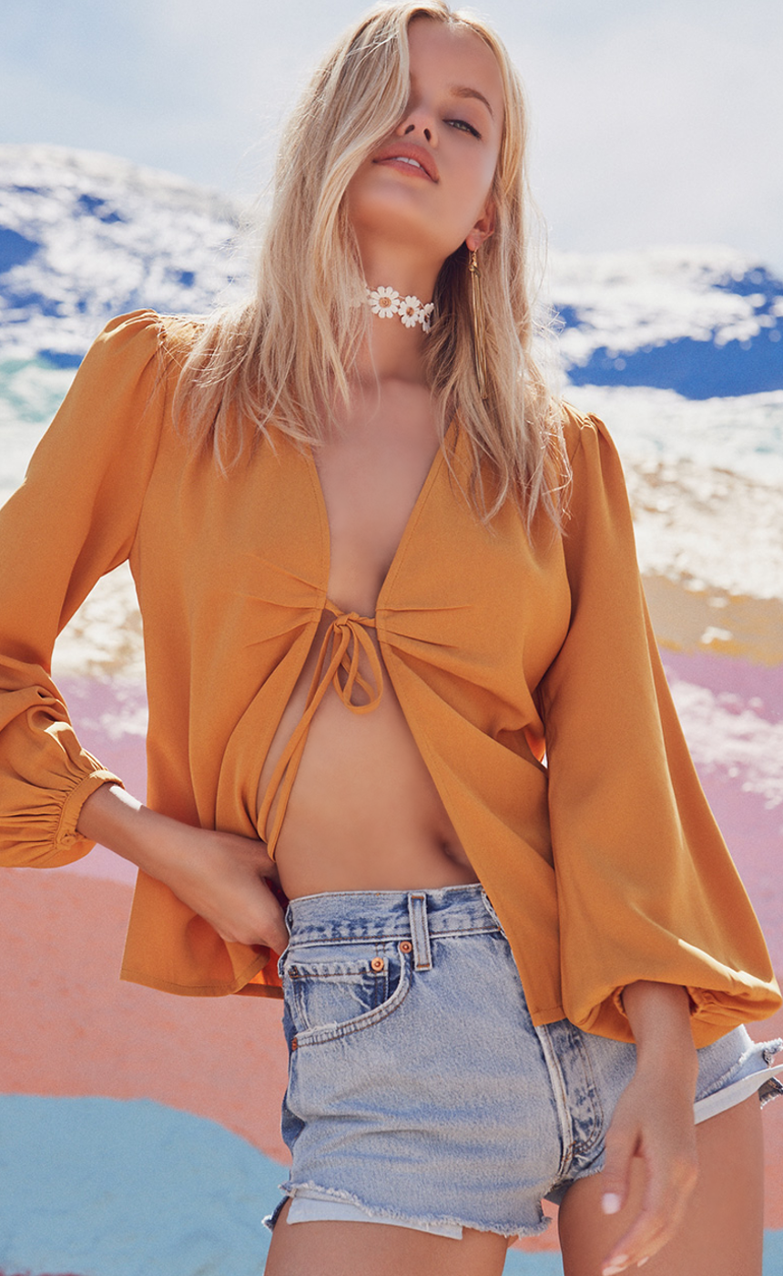 REVOLVE BY THE WAY MEIA DEEP V BLOUSE