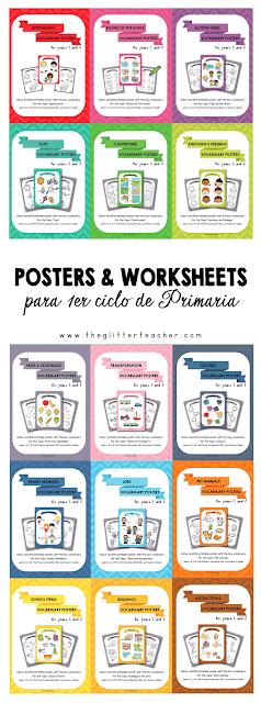 Posters y worksheets de vocabulario específico para primero y segundo de educación primaria en el área de inglés como lengua extranjera.