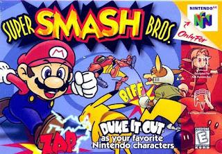 Portada del cartucho de Super Smash Bros para Nintendo 64 (1999)