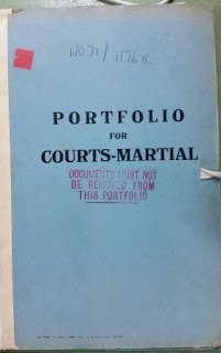 Cover of Robin William George Stephens' court martial file (National Archives - Kew)