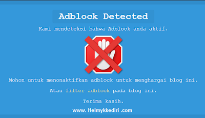 Memasang Notifikasi untuk Pengguna Adblock