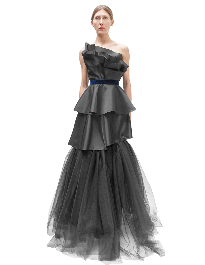 black wedding dress, blue velvet, couture, alyssa nicole, alyssa nicole fall 2014, black evening gown, evening gown, black tiered dress, san francisco fashion, sf style