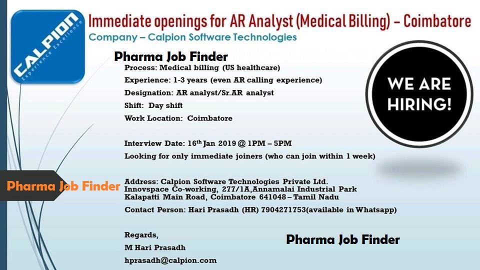 Calpion Software Technologies - AR Analyst (Medical Billing) - Walk