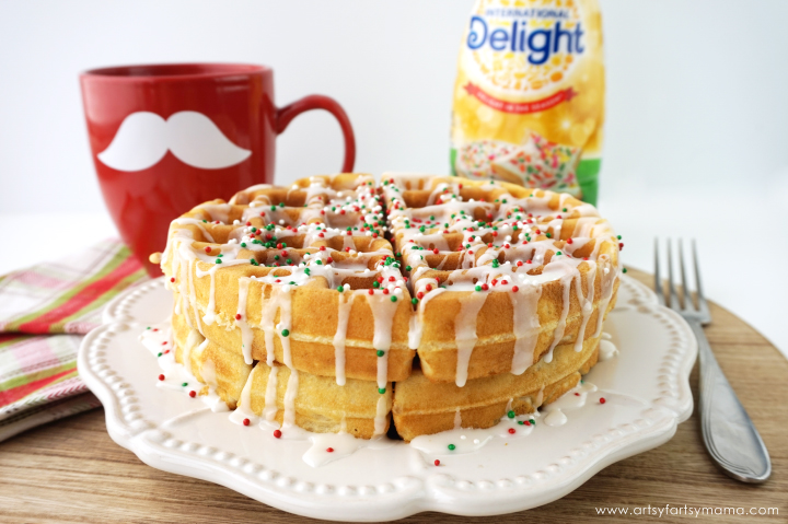 Fluffy Sugar Cookie Waffles made with International Delight® Sugar Cookie Coffee Creamer #DelightfulMoments